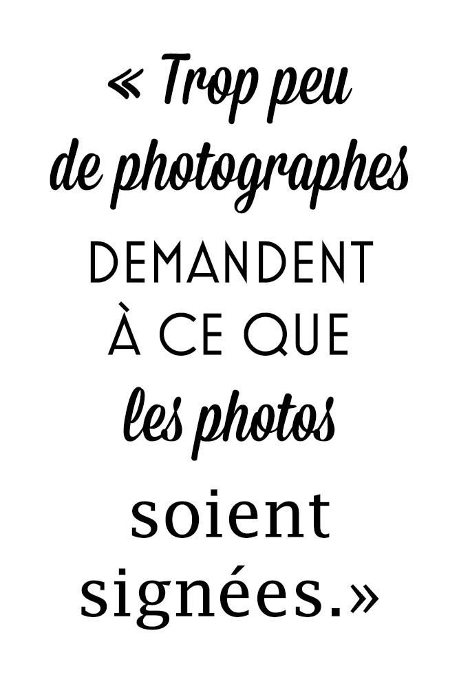 Trop peu de photographes demandent à ce que les photos soient signées